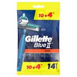 GILLETTE BLUE II PLUS CHROMIUM JEDNORAZOWE MASZYNKI DO GOLENIA DLA MĘŻCZYZN, 10+4 SZTUK
